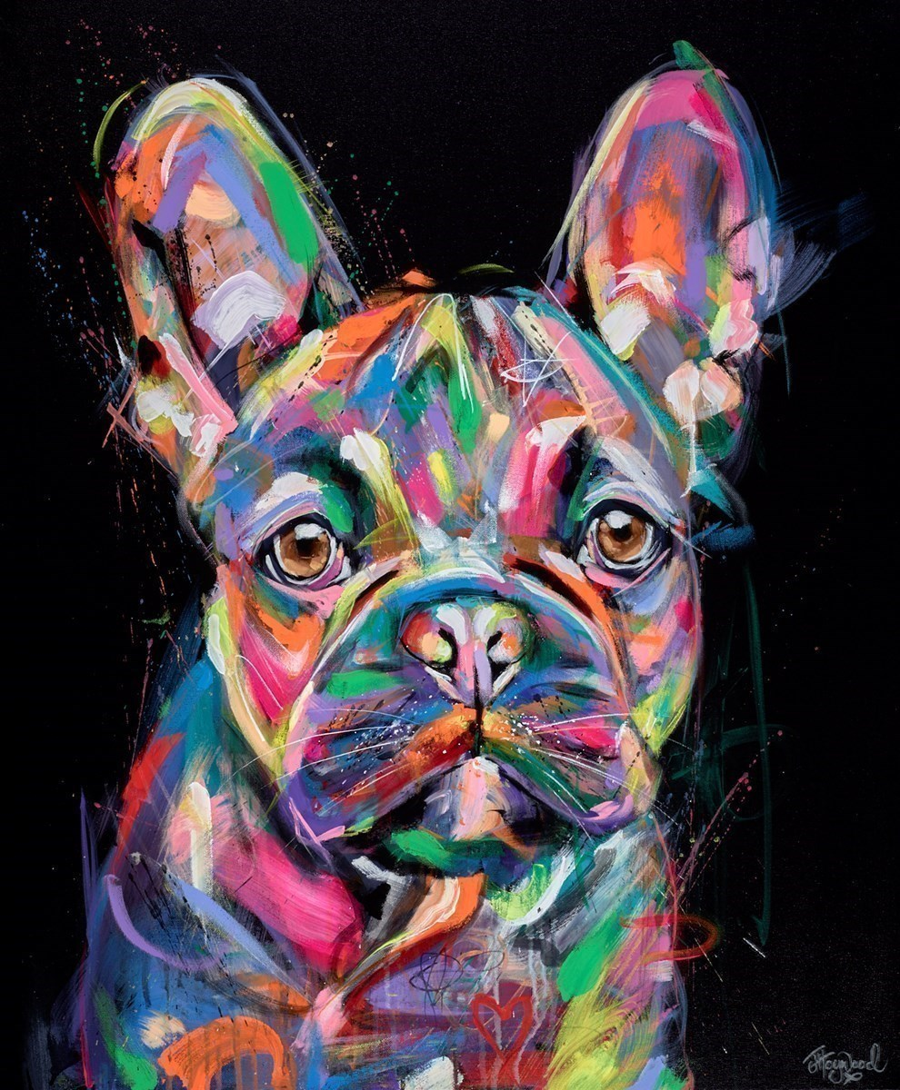Bright and Beautiful French Bulldog by Jennifer Hogwood -  sized 29x35 inches. Available from Whitewall Galleries
